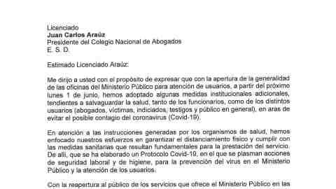 MEDIDAS DE PREVENCIÓN PARA LA REAPERTURA DEL MINISTERIO PUBLICO