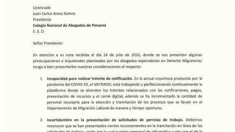 NOTA DE LA MINISTRA DE TRABAJO DORIS ZAPATA EN RESPUESTA A INQUIETUDES PLANTEADAS POR ABOGADOS DE DERECHO MIGRATORIO