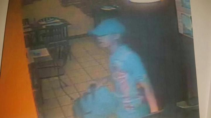 Surveillance footage from a series of armed robberies of restaurants in Panama City Last month.