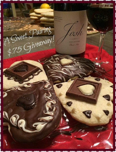 Josh Cellars wine and Ghirardelli sugar cookies!