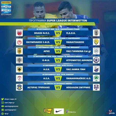 Το πρόγραμμα της 3ης αγωνιστικής – Η ημερομηνία του ΑΕΛ – ΠΑΟ | panathinaikos24.gr