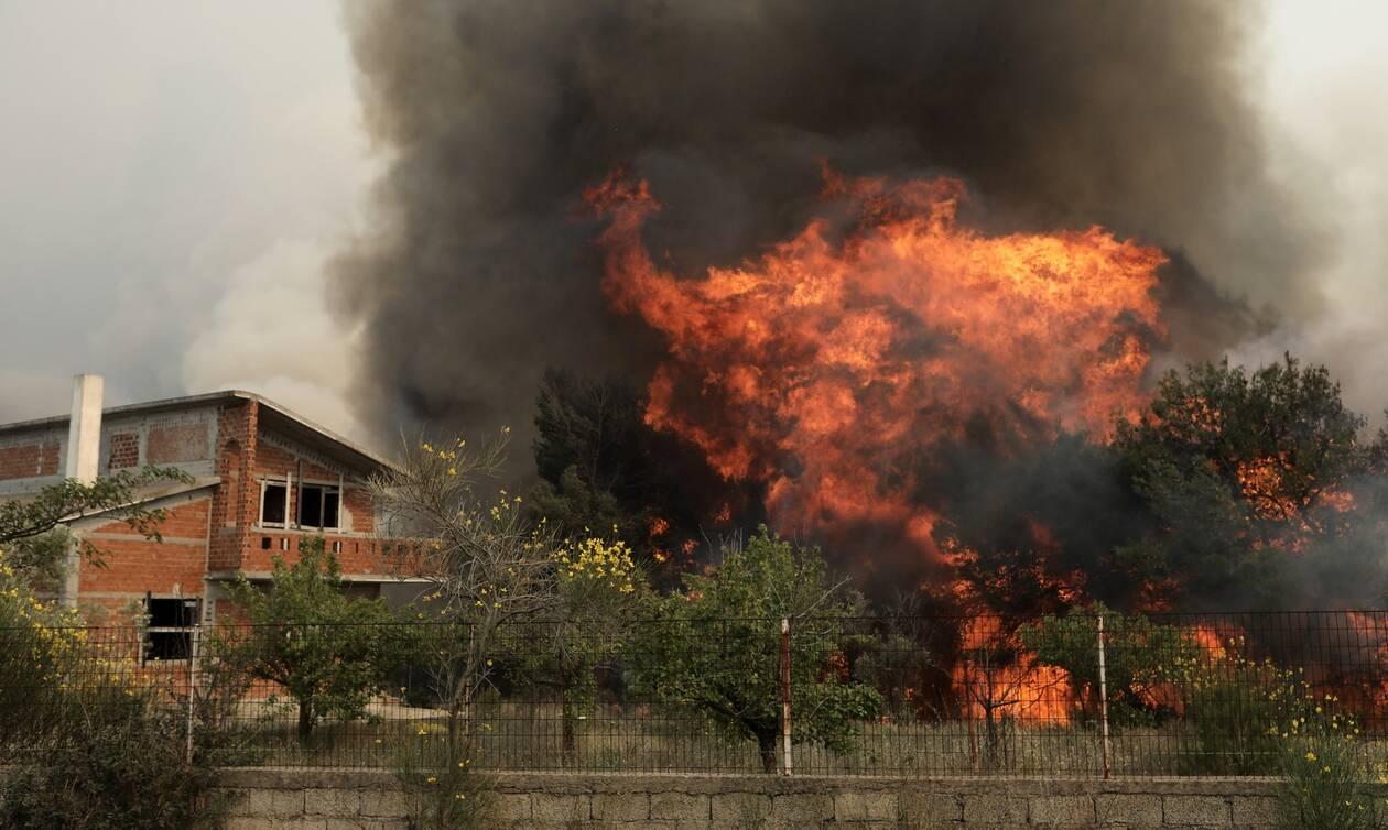 Καίγονται σπίτια σε Σταμάτα και Ροδόπολη (vid) | panathinaikos24.gr