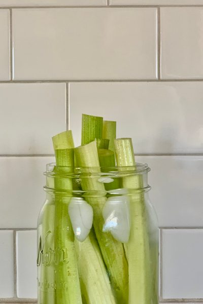 Celery in an ice bath