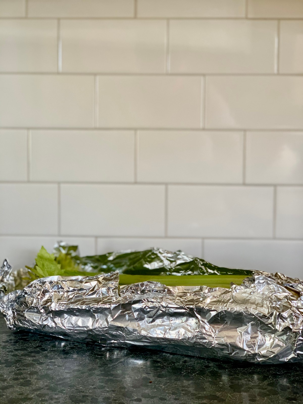 Celery wrapped in foil.