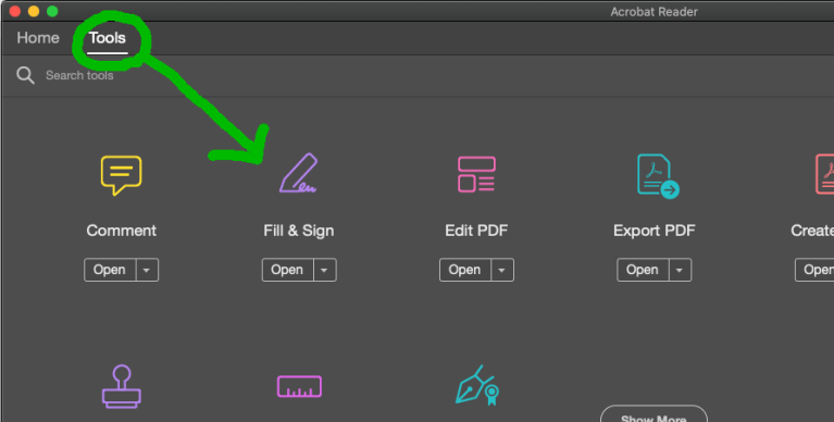 Select the Tools tab and click Open under the Fill & Sign icon.