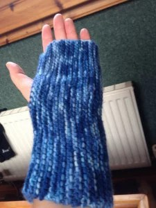 blue wrist warmer