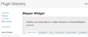 Blipper Widget in the WP Plugin Directory (screenshot)