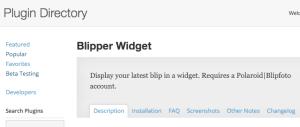 Blipper Widget in the WP Plugin Directory (screenshot)