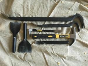 hammer, crowbars, claw bar, chisels