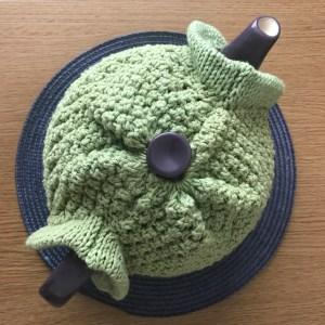 blackberry tea cosy in green: top
