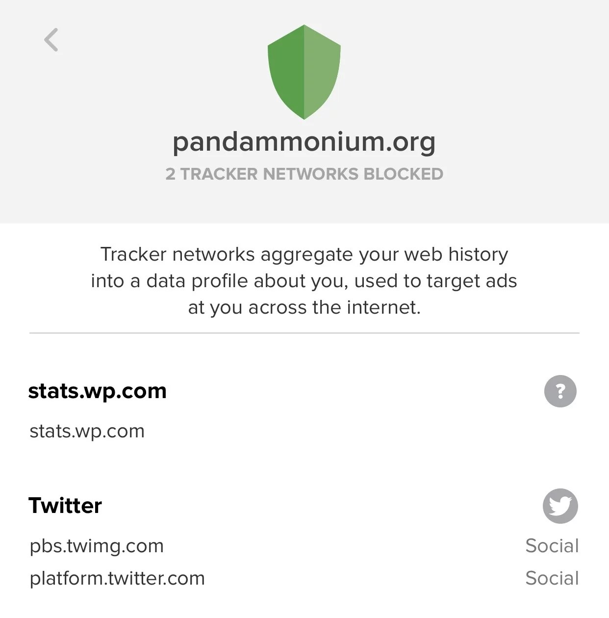 trackers on pandammonium.org