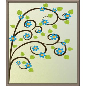 Árbol con flores azules - Ilustración en vectores