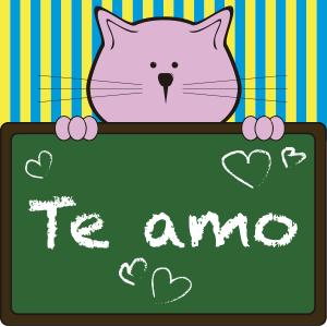 Gato con pizarrón - Ilustración en vectores