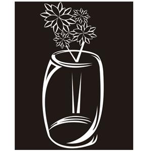 Jarrón con flores en blanco y negro - Ilustración en vectores