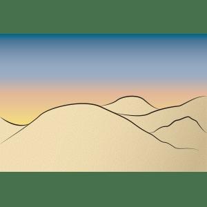 Atardecer en el desierto - Ilustración en vectores