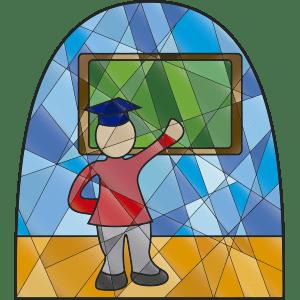 Maestro en el aula con estilo de vitral