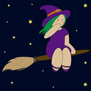 Brujita volando en su escoba - Ilustración en vectores