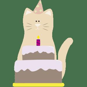 Gato con pastel de cumpleaños