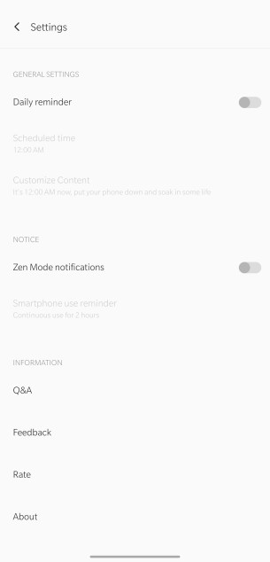 Image Showing settings of Zen Mode