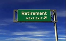 Board showing directions to 'retirement'