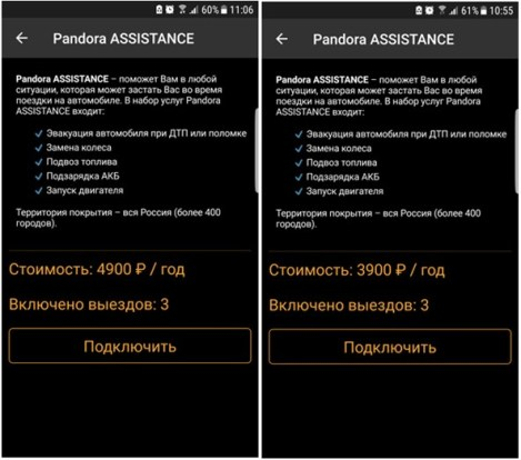 Услуга «Pandora ASSISTANCE»