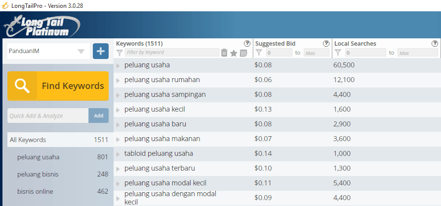 Mencari keyword di Long Tail Pro
