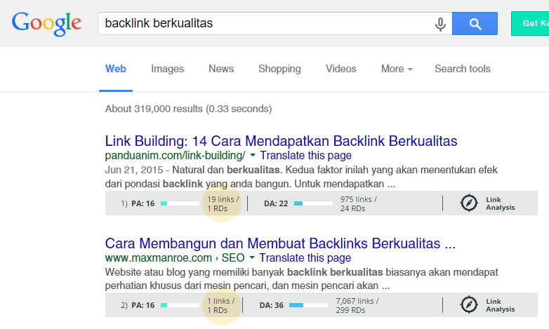 Jumlah backlink