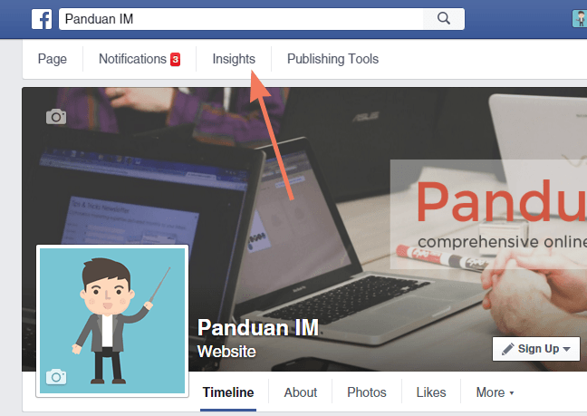 Melihat insights facebook page