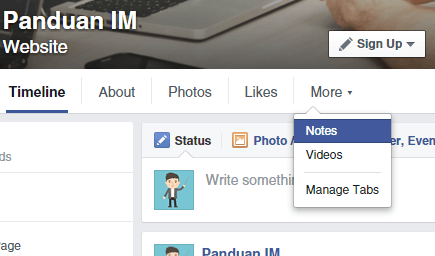Membuat notes di Facebook
