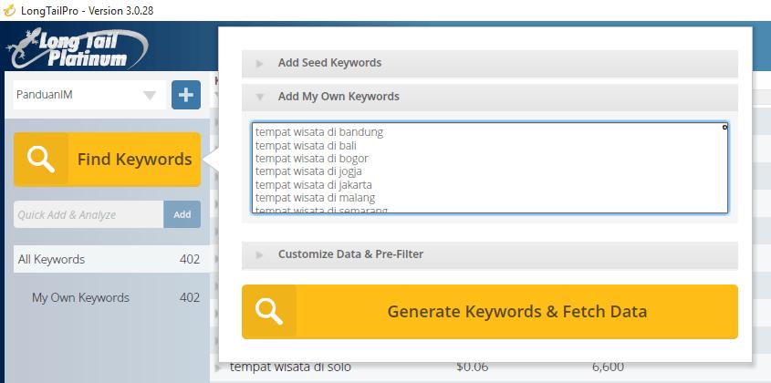 Dapatkan data keyword dari long tail pro