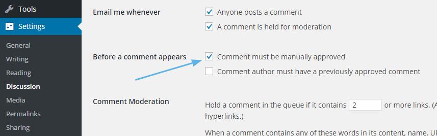 Approve komentar manual