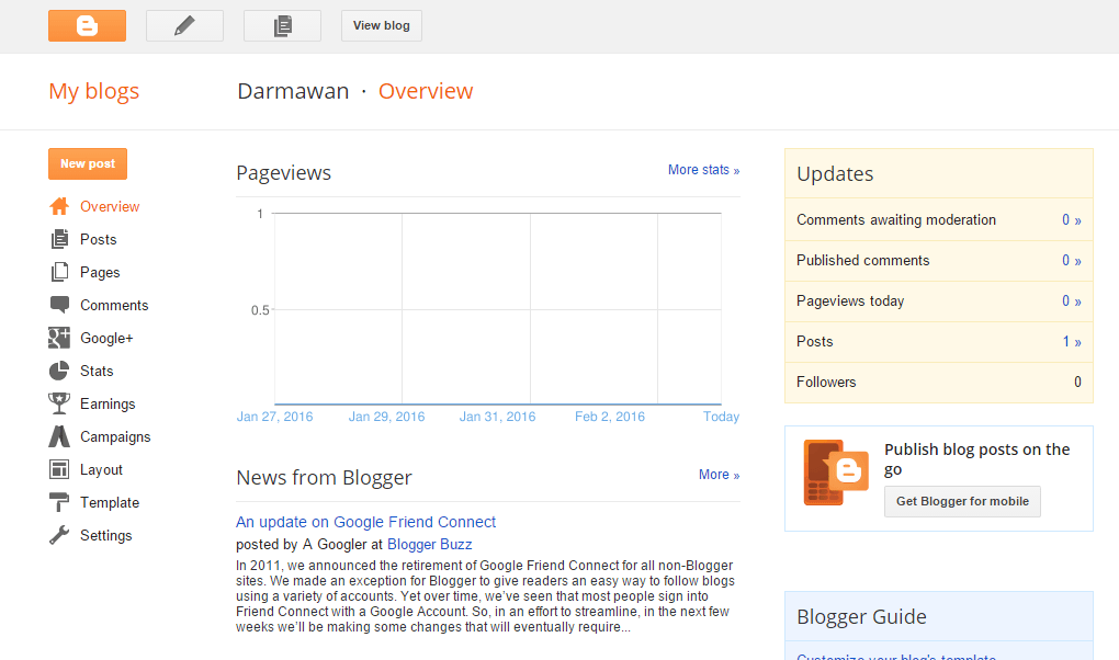 Dashboard Blogger