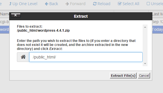 Extract file WordPress