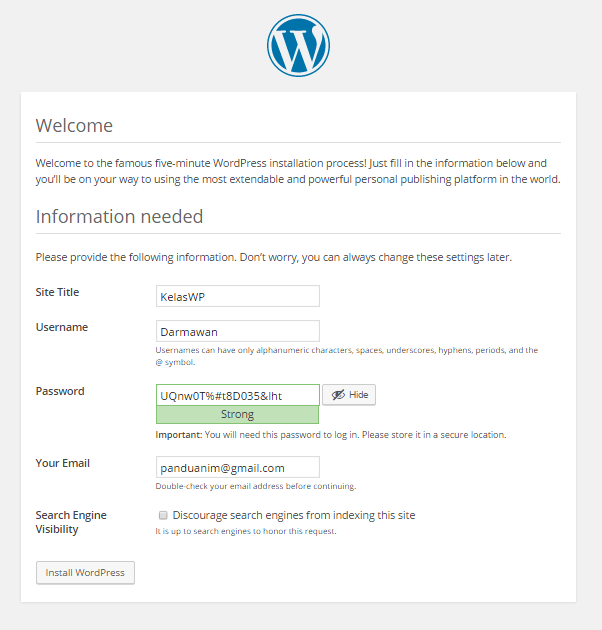 Lengkapi informasi website wordpress