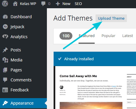 Upload theme ke WordPress
