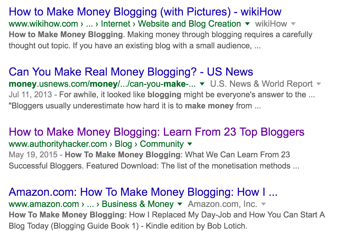 Authority Hacker make money blogging SERP