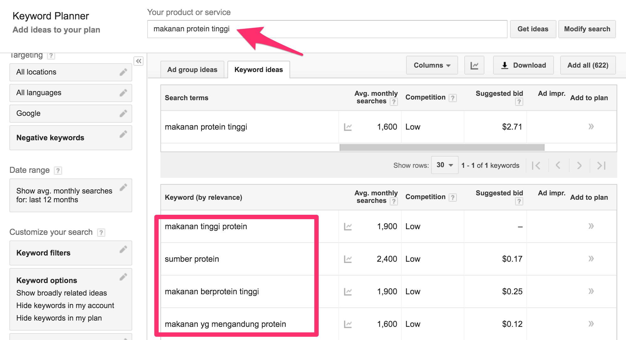 Mencari keyword primer