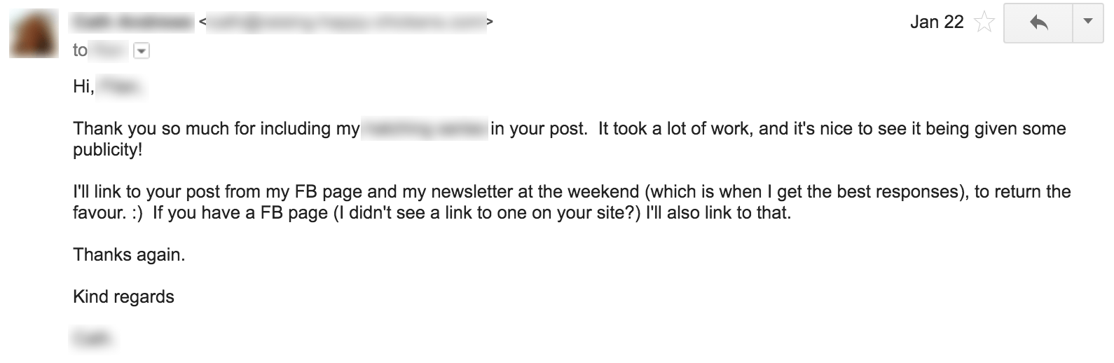 Outreach email success