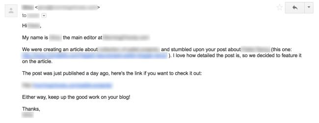 Ví dụ về email tiếp cận