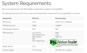 sistem yang diperlukan untuk instalasi whmcs
