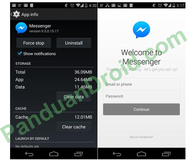 Aplikasi android, FB Messenger, Logout