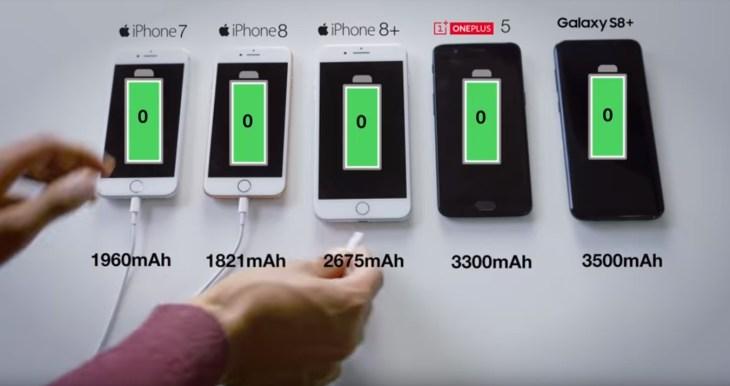 Kapasitas Baterai OnePlus 5 Samsung S8 iPhone 7 iPhone 8 dan iPhone 8