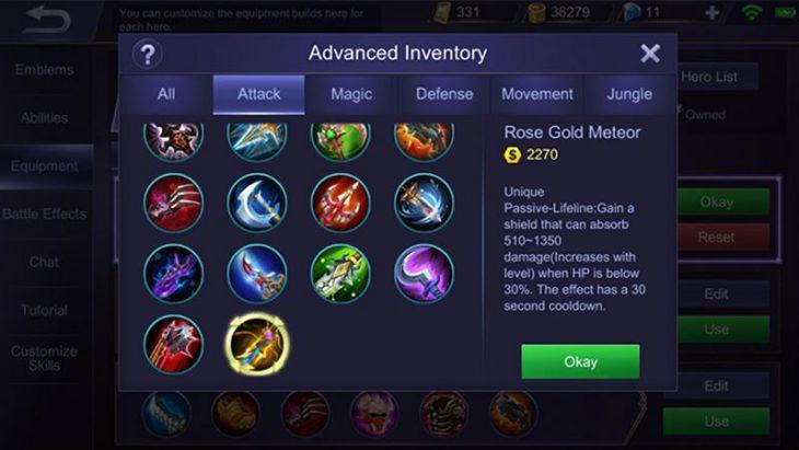 Item Rose Gold Meteor Mobile Legends
