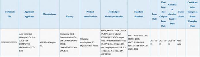 Sertifikasi 3C Asus ROG Phone