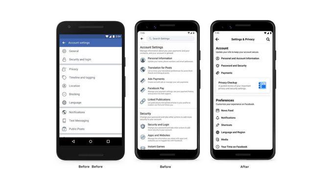 Aplikasi Facebook Desain Ulang Pengaturan Privasi