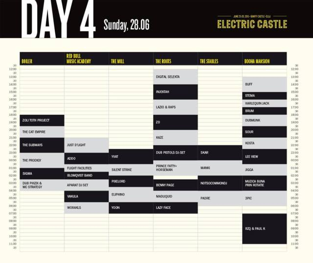 Electric Castle 2015 - program ziua 4
