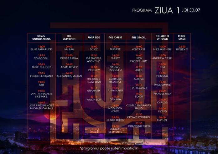 Program Untold Festival - ziua 1 - joi