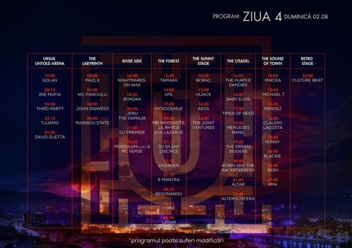 Program Untold Festival - ziua 4- duminica