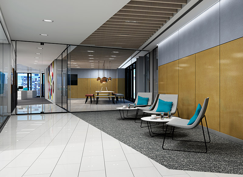 office waiting room with Acoustic panels on the walls