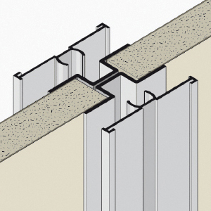 OMEGA-steel profile with PVC cover section and HPL strips